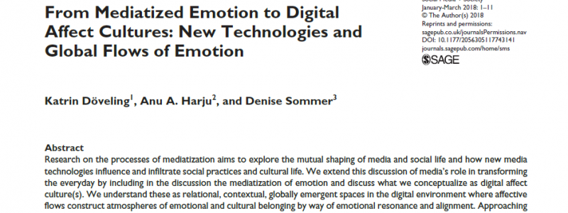 Peer-Reviewed Article on Digital Affect Cultures: New Technologies and Global Flows of Emotion