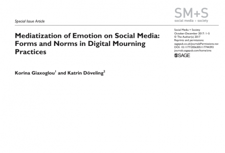 Peer-reviewed article: Mediatization of emotion on social media: forms and norms in digital mourning practices