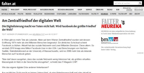 """""""Am Zentralfriedhof der digitalen Welt"""" (Heureka, Online-Ausgabe)"""